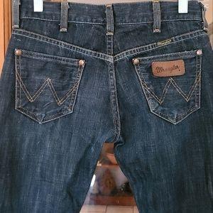 RARE Vintage Wrangler 47 Fashion Straight Leg Selvedge Dark Blue Jeans 25 x 34